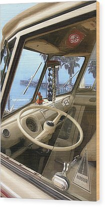 Parked Above The Pier Wood Print by Ron Regalado
