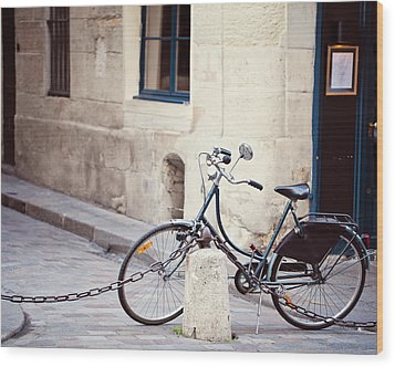 Parked In Paris - Bicycle Photography Wood Print