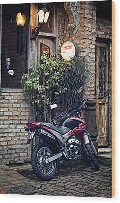 Wood Print featuring the photograph Parked Motorcycle by Kim Wilson