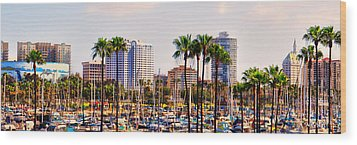 Parking And Palms In Long Beach Wood Print by Bob Winberry