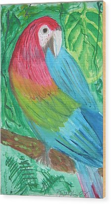 Wood Print featuring the painting Parrot At Sundy House by Donna Walsh