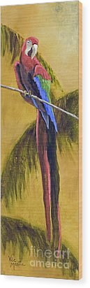 Parrot Is A Character With Gold Leaf By Vic Mastis Wood Print by Vic  Mastis