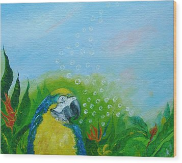 Parrothead Wakes Up In Margaritaville Wood Print by Phyllis OShields