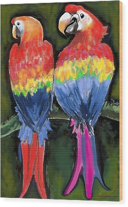 Parrots Wood Print by Kevin Middleton