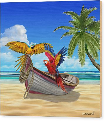 Parrots Of The Caribbean Wood Print