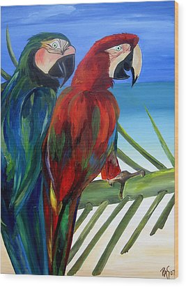Parrots On The Beach Wood Print by Patti Schermerhorn