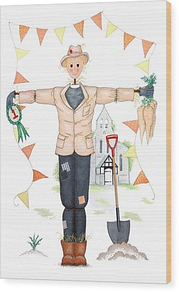 Parson Scarecrow Wood Print by Sandra Moore
