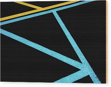 Wood Print featuring the photograph Partallels And Triangles In Traffic Lines Scene by Gary Slawsky