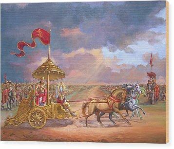 Partha Sarathi  Krishna Speaks The Bhagavad-gita To Arjuna Wood Print by Dominique Amendola