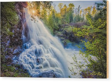 Wood Print featuring the photograph Partridge Falls In Late Afternoon by Rikk Flohr