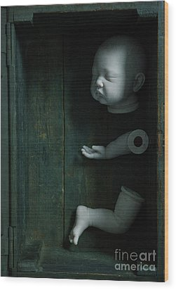 Wood Print featuring the photograph Parts Of A Plastic Doll In A Wooden Box by Lee Avison