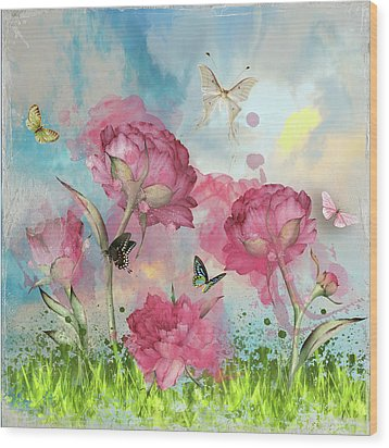 Party In The Posies Wood Print
