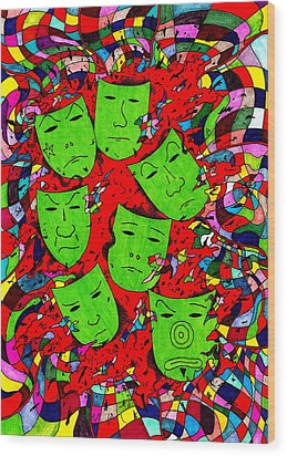 Party Of Seven Wood Print by Teddy Campagna