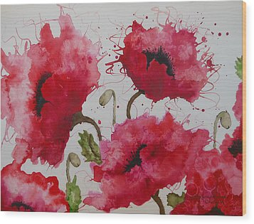 Party Poppies Wood Print
