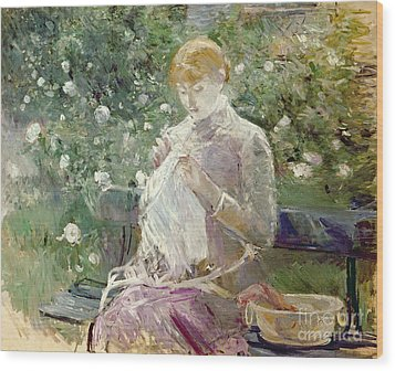 Pasie Sewing In Bougivals Garden Wood Print by Berthe Morisot