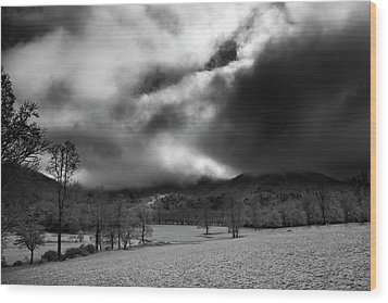 Wood Print featuring the photograph Passing Snow In North Carolina In Black And White by Greg Mimbs