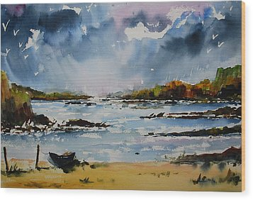 Passing Storm At Lahinch Wood Print by Wilfred McOstrich