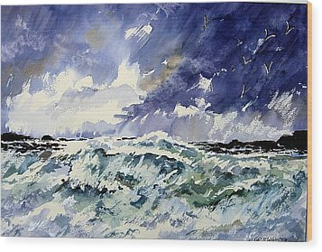 Passing Storm At The Blaskets  Wood Print