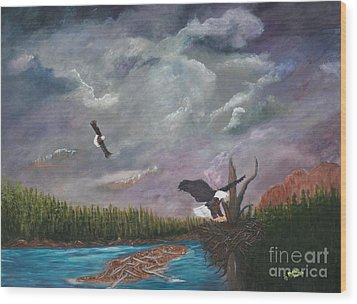 Wood Print featuring the painting Passing Storm by Myrna Walsh