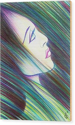 Wood Print featuring the drawing Passion Awakening by Danielle R T Haney