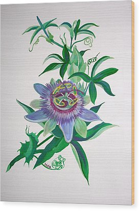 Passion Flower Wood Print by Tracey Harrington-Simpson