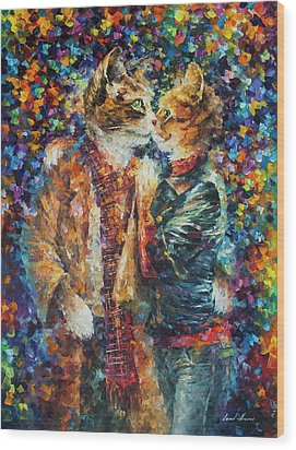 Passion Of The Cats  Wood Print by leonid Afremov