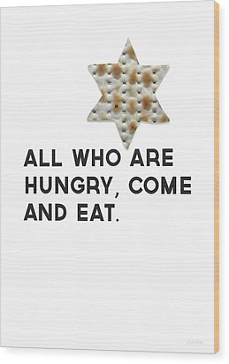 Wood Print featuring the mixed media Passover Matzo- Art By Linda Woods by Linda Woods