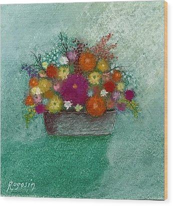 Pastel Flowers Wood Print by Harvey Rogosin