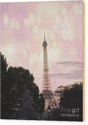 Wood Print featuring the photograph Pastel Paris Eiffel Tower Sunset Bokeh Lights - Romantic Eiffel Tower Pink Pastel Home Decor by Kathy Fornal