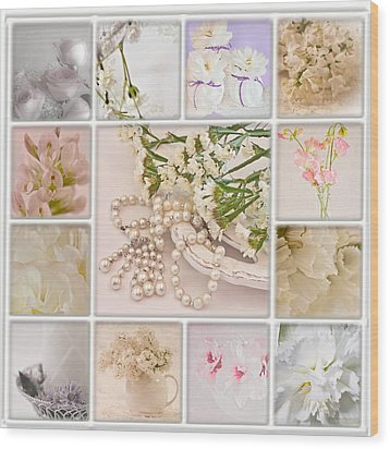 Pastel Photo Collage  Wood Print by Sandra Foster
