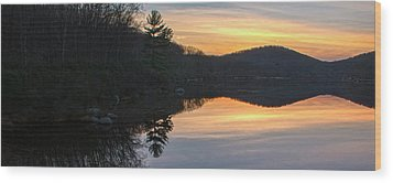 Pastel Reflections With Pine Tree Wood Print