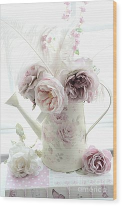 Wood Print featuring the photograph Pastel Romantic Shabby Chic Pink Flowers In Watering Can - Romantic Cottage Floral Home Decor  by Kathy Fornal