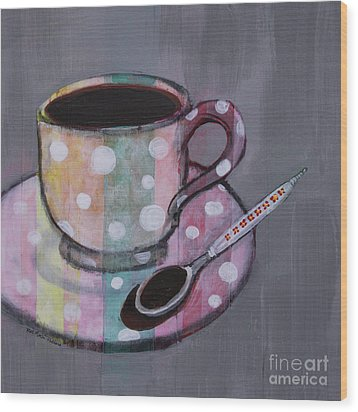 Wood Print featuring the painting Pastel Stripes Polka Dotted Coffee Cup by Robin Maria Pedrero