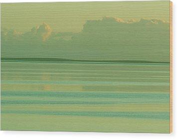 Pastel Sunset Sea Green Wood Print
