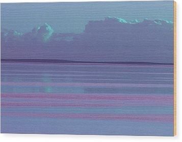 Pastel Sunset Sea Lilac Wood Print