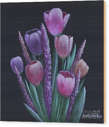 Pastel Tulips Wood Print