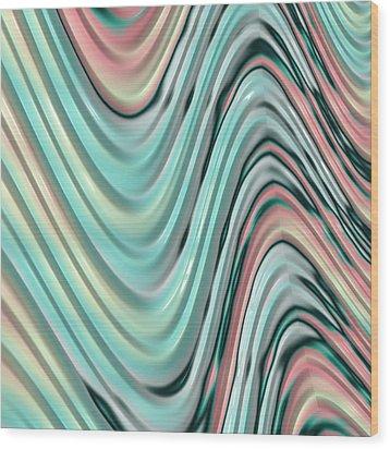 Wood Print featuring the digital art Pastel Zigzag by Bonnie Bruno