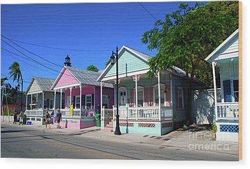 Pastels Of Key West Wood Print by Susanne Van Hulst