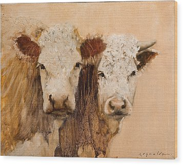 Wood Print featuring the painting Pasture Buddies by John Reynolds