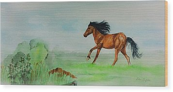 Wood Print featuring the painting Pasture by Ellen Canfield