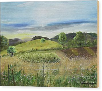 Wood Print featuring the painting Pasture Love At Chateau Meichtry - Ellijay Ga by Jan Dappen
