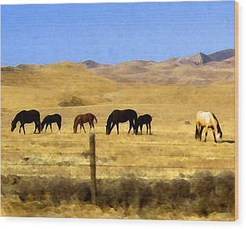 Wood Print featuring the digital art Pastured Horses by Timothy Bulone