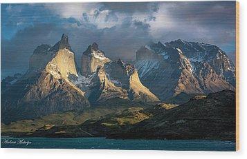 Patagonian Sunrise Wood Print by Andrew Matwijec