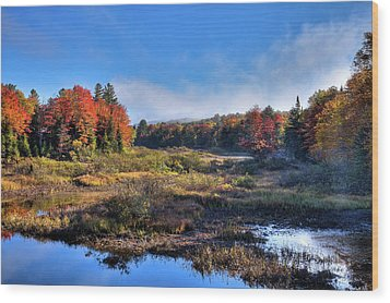 Wood Print featuring the photograph Patches Of Fog At The Green Bridge by David Patterson