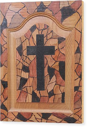 Patchwork And Cross Wood Print by Lisa Brandel