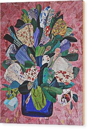 Patchwork Bouquet Wood Print by Sarah Loft