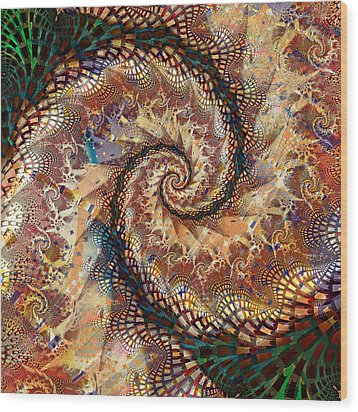 Wood Print featuring the digital art Patchwork Spiral by Richard Ortolano