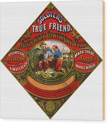 Wood Print featuring the photograph Patent Medicine Label 1862 by Padre Art