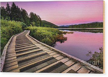 Path By The Lake Wood Print by Rod Jellison