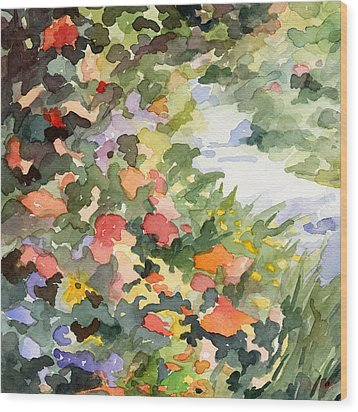 Path Monets Garden Watercolor Paintings Of France Wood Print